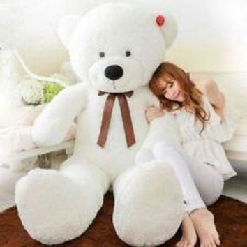 DCCKIN7 47'giant huge big stuffed animal white teddy bear plush soft toy 120cm