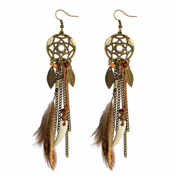 Bohemian Long Feather Earrings Indian Jewelry Boho Earrings Beads Tassel