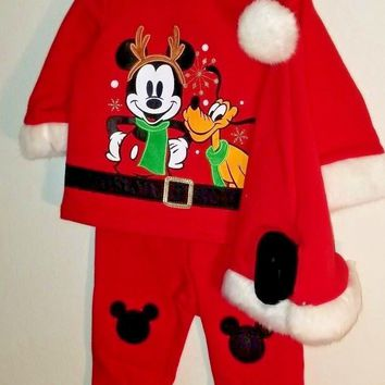 Disney Store Christmas Mickey Mouse Pluto Baby Boys Santa Outfit 6-9M