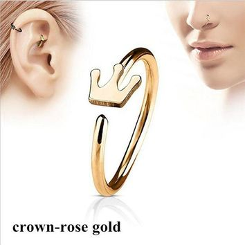 ac DCCKO2Q Fashion Crown Shape Hoop Simple Nose Ring Stainless Steel Body Piercing Jewelry