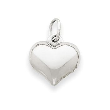 14k White Gold Puffed Heart Charm and Pendant, 12mm
