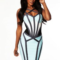 """Sheridan"" Blue Contoured Hourglass Bandage Dress - Love Struck"