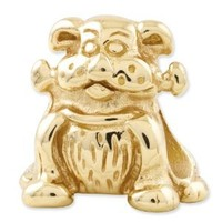 Reflection Beads Sterling Silver Reflections Dog with Bone Bead (13 x 12 mm)