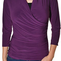 Avital Solid Ruched Stretch Shirt (Plum Purple)