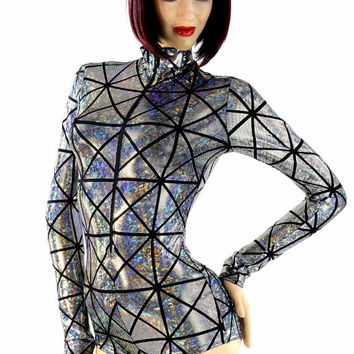 e7625e166c3 Silver on Black Cracked Tile Zipper Front Long Sleeve Hologra.
