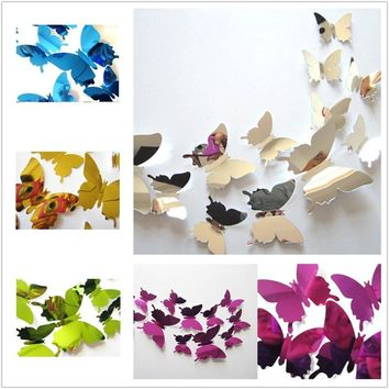 12pcs/set 3D Mirror Butterfly Wall Stickers 5 Colors Party Wedding Decor Butterfly Wall Sticker DIY Home Wall Art Decorations