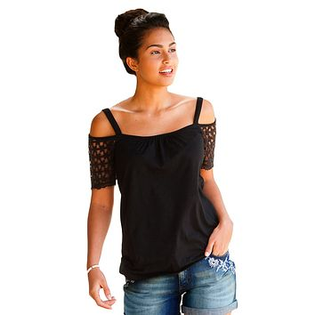 Black Floral Crochet Short Sleeve Cold Shoulder Top