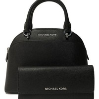 ONETOW MICHAEL Michael Kors Emmy SM Dome Satchel bundle with Michael Kors Jet Set Travel Flat Wallet