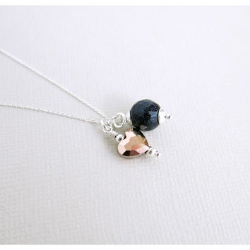 Swarovski Rose Gold Heart - Indigo Blue Sandstone - 925 Italy Sterling Silver Necklace - N-SS-LoveandStars