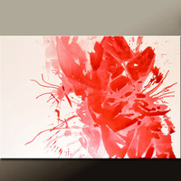 Red Abstract Canvas Art Painting 36x24 Original Modern Contemporary Paintings by Destiny Womack - dWo - Broken