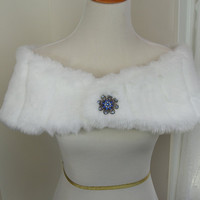 White Mink Faux Fur Shrug, Faux Fur Shawl, Fur Stole, Wedding White Shoulder Wrap