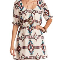 Three-Quarter Sleeve Tribal Print Chiffon Dress - Taupe Combo