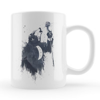 Wolf Song White Ceramic Mug by Balazs Solti