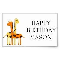 Cute Hugging Giraffes Happy Birthday Rectangular Sticker