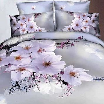 3D White Cherry Blossom Printed Cotton Luxury 4-Piece Bedding Sets/Duvet Covers