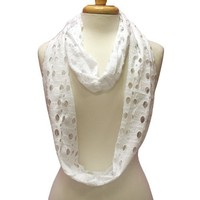 Luxury Divas White Infinity Ring Scarf With Circle Cut-Outs