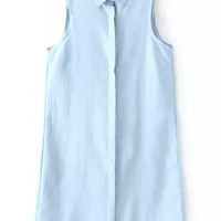 Blue Lapel Sleeveless Denim Shirt Dress