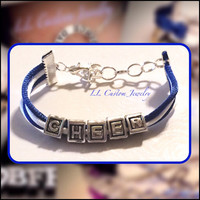Cheer Sliding Letters on Satin Cord Bracelet with Choice in Color of Cord