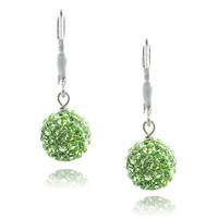 Sterling Silver Peridot Swarovski Elements Fireball Leverback Dangle Earrings, 10mm