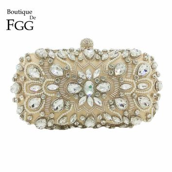 Boutique De FGG Beige Satin Clear Crystal Beaded Women Metal Evening Clutches Shoulder Bag Wedding Party Cocktail Handbag Purses