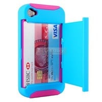 Blue/Pink Credit Card Hard Shell Stand Combo Case Cover For  iPhone 4 4S 4G 32A