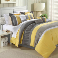 King size 8-Piece Oversized Comforter Set in Yellow Grey White Stripes