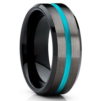 Gunmetal - Black Tungsten Band - Tungsten Wedding Band - Turquoise