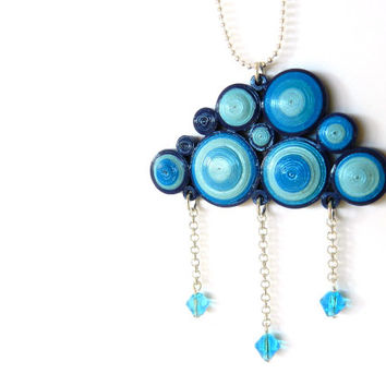 Blue paper cloud pendant handmade quilling technique and rain light blue glass drops