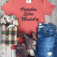"Gina ""Pumpkin Spice Wasted"" Rust  Appliqued Tee"