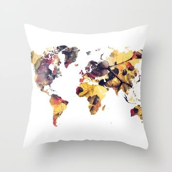 world map 78 yellow Throw Pillow by jbjart