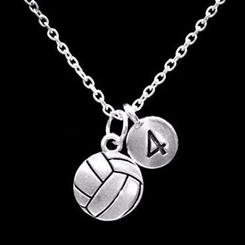 Choose Number, Volleyball Sports Gift Charm Necklace