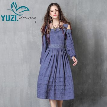 Women Dress 2017 Yuzi.may Boho New Cotton Vestidos Slash Neck A-Line Off-shoulder Lantern Sleeve Vestido A82036 Dresses