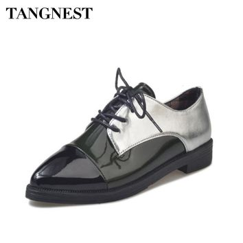 Tangnest Women Fashion Oxford Shoes British Style Elegant Pointed Toe Cross-tied Women Shoes Low Heel Women Flats Spring XWD6494