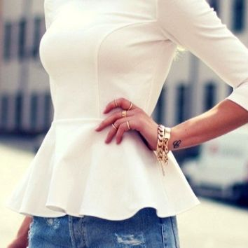 White 3/4 Sleeve Peter Pan Collar Peplum Blouse