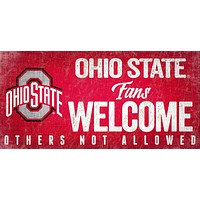 Ohio State Buckeyes Wood Sign Fans Welcome 12x6