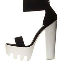 Black Single Strap Chunky Lug Platform Heels by Charlotte Russe