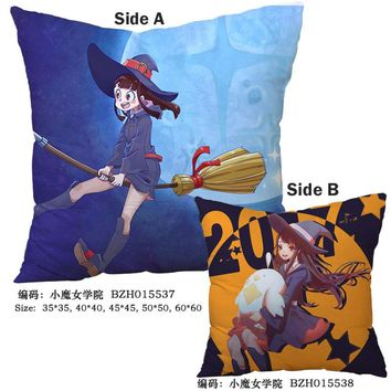 Anime Little Witch Academia Pillow 45x45CM Decorative pillows cushions Soft Square Two-sides Printed pillows Christmas Gifts