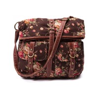 Womens Fold Over Floral Handbag