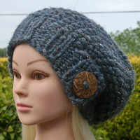 Hand Knit hat- Women's hat- blue tweed with big coconut button- winter hat- Rustic Mega Chunky with wool
