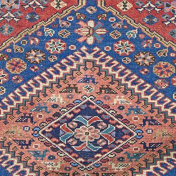 Oriental Yalameh Irannian Tribal Wool Rug, Deep Blue/Red