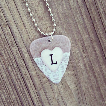 Personalized Initial Guitar Pick Pendant on Silver Ball Chain Necklace wood heart with burlap lace design jewelry country girl wedding gift