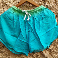 Blue shorts comfy cotton fabric summer beach clothing Bohemian plain colorful Spring festival clothes for women girl teen chic fashion