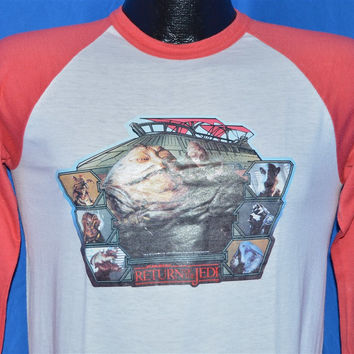 80s Original Star Wars Return of the Jedi Jabba Iron On Baseball Jersey t-shirt Small