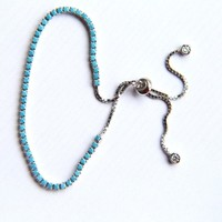 Terria Turquoises Stone - Sterling Silver Bracelet