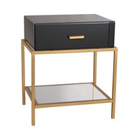 Evans Side Table Black Glass,Gold Leaf