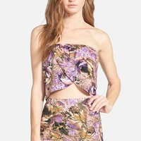 Women's Leith Floral Print Overlay Tube Top,