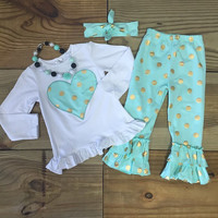 FREE HEADBAND!! Girl Mint Green Gold Polka Dot Heart Outfit Ruffled Pants