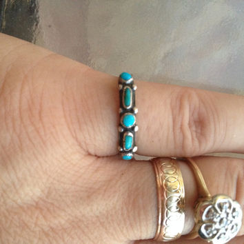 Turquoise Ring, Silver Turquoise Ring, Dainty Turquoise Band, Native Navajo Ring, Native Tribal Ring, Navajo Tribal Jewelry, Turquoise Band