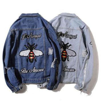 ''GUCCI '' Women Men Fashion Bee Tiger Embroidery Distressed Denim Cardigan Jacket Coat