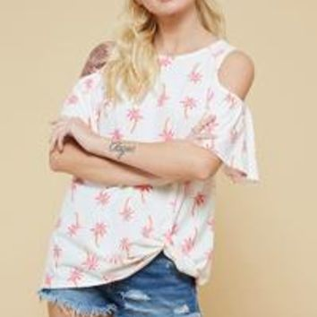 cold shoulder palm tree tee